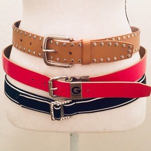 Guess and Express Red Tan and Black Belts Sz Small